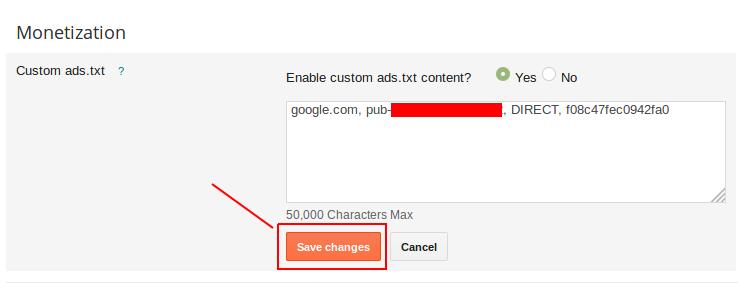 cara mengaktifkan ads.txt blogspot