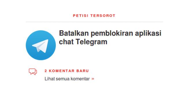 petisi batalkan blokir Telegram