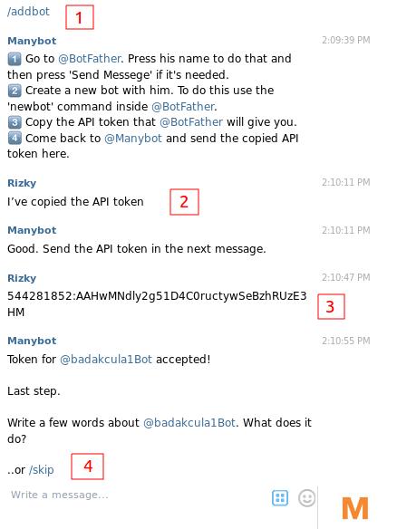 membuat bot telegram - setup manybot