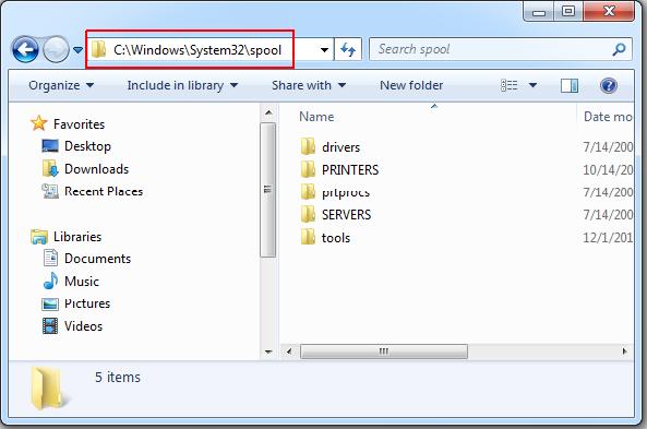 C:\windows\system32\spool PRINTERS