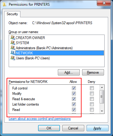 Atasi Access is Denied Add Printer via Local Port